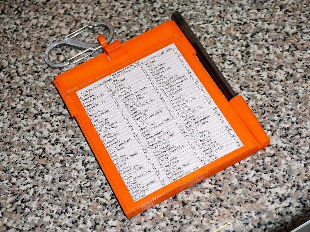 """DSC02673.JPG Download free STL file Home Depot """"Cut Ticket"""" Notebook Holder #RetailTools UPDATED 2015-05-11 • 3D printing object, tonyyoungblood"""