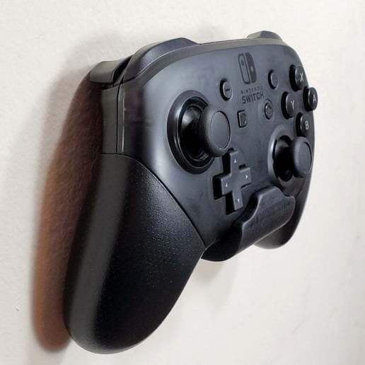 SwitchProMount_03.jpg Download free STL file Nintendo Switch Pro Controller Mount - Mounts on Wall or Switch! • Design to 3D print, tonyyoungblood