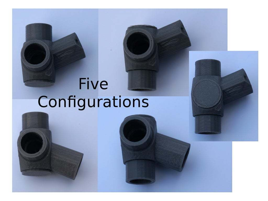 AngledElbows1.JPG Download free STL file Reconfigurable 22.5 & 45 Degree 3-Way Elbows, 1/2 Inch PVC Pipe Fitting Series #HalfInchPVCFittings UPDATE 2015-07-03 • 3D printer design, tonyyoungblood