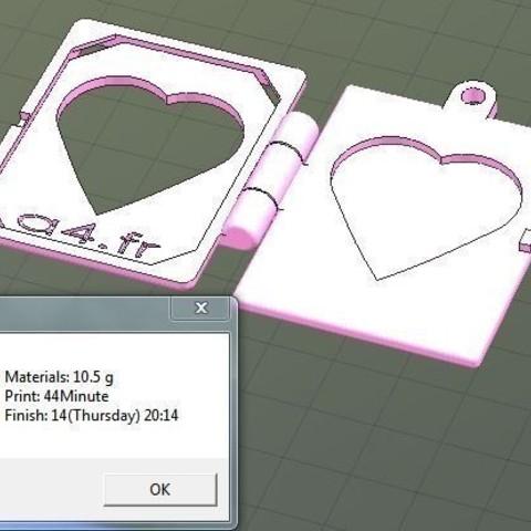 Download free 3D printer designs Carte St Valentin, Etienne