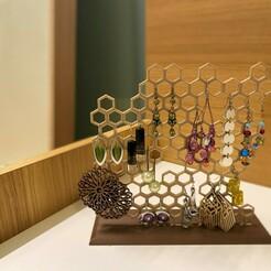 IMG_1608.jpg Télécharger fichier STL Stand de boucles d'oreilles en nid d'abeille • Modèle pour imprimante 3D, julio1983v2