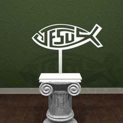 JF.jpg Download free STL file Jesus Fish! • 3D printer model, AwesomeA