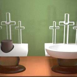 Untitled-1.jpg Download free STL file The Three Calvary Crosses - Candle Holder and Dish • 3D printing model, AwesomeA