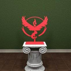 Valor-001.jpg Download free STL file Pokemon GO - Team Valor Logo • 3D printing template, AwesomeA