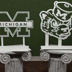 Download free 3D printer templates Michigan Wolverines Logo, AwesomeA