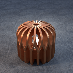 TeaC-18-Pill-Weave-Sm.png Download STL file TeaC | Tea Light Holder | Weave Top (18) *Sm • 3D printable design, DaveMans