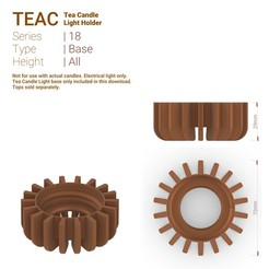 Teac_18_Base_All.jpg Download STL file TeaC | Tea Light Holder | Base (18) • 3D printable object, DaveMans