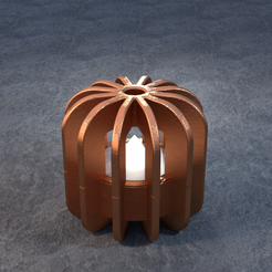 TeaC-12-Pill-Fins-Sm.png Download STL file TeaC | Tea Light Holder | Fins Top (12) *Sm • 3D printable object, DaveMans