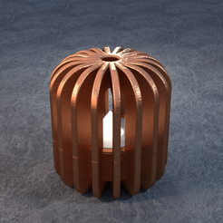TeaC-18-Pill-Fins-Md.png Download STL file TeaC | Tea Light Holder | Fin Top (18) *Md • Template to 3D print, DaveMans