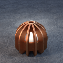 TeaC-12-Ball-Fins.png Download STL file TeaC | Tea Light Holder | Fins Top (12) *Ball • 3D print design, DaveMans