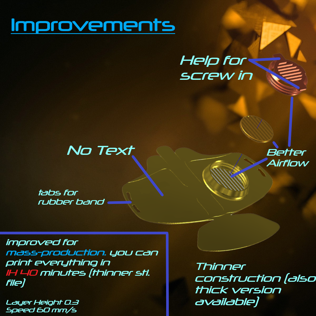 improvements.png Download free STL file Mask 3D NanoHack Improved (MassProductionVersion) • 3D printing model, Tonystark112