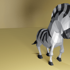 Zebra.png Download STL file Low Poly Zebra • 3D print template, Ndreu
