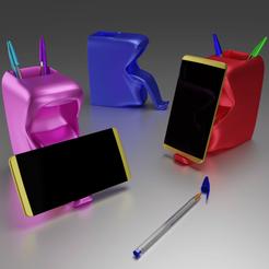 Support smartphone pot à crayons.png Télécharger fichier OBJ gratuit Support smartphone Pot à crayons • Modèle à imprimer en 3D, Xdorf