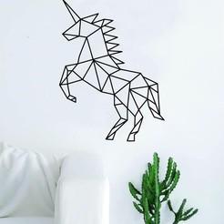 unicorn.jpg Download 3MF file Geometric Unicorn Animal Design Magical Horse • 3D printer object, samlyn696