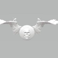 hd1.png Download STL file Harley Davidson Skull Logo With wings • 3D print design, samlyn696