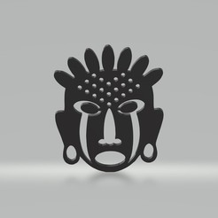 tm2.jpg Download 3MF file Traditional African Decorative Wall Mask • 3D printable template, samlyn696