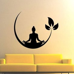 meditating-buddha.jpg Download STL file Meditating Buddha Wall Art Decor • 3D print template, samlyn696