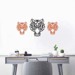 th2.jpg Télécharger fichier 3MF Sticker décoratif mural Tiger Head Art 3D • Plan pour imprimante 3D, samlyn696