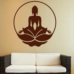 buddha3.jpg Download STL file Meditating Buddha Wall Art Decor • 3D print template, samlyn696
