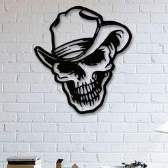 skull on wall.jpg Download STL file Wall Art Skull Hat with Human Skull Sticker Decoration • 3D printable design, samlyn696