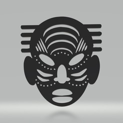 tm3.jpg Download 3MF file African Mask Wall Decorationa Male • 3D printable design, samlyn696
