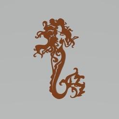 mermaid 2.jpg Télécharger fichier STL Sticker décoratif de sirène pour l'art mural Nice Design • Objet pour impression 3D, samlyn696