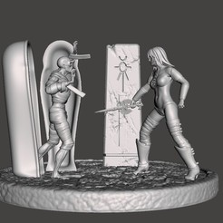 "d1.jpg Télécharger fichier STL Mini diorama ""Beneath the Pyramid"" - Fille contre maman • Plan imprimable en 3D, samlyn696"