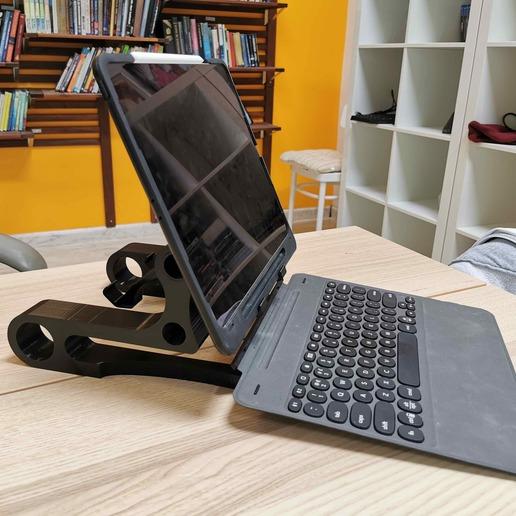 Keyboard in use.jpg Download free STL file iPad  Stand Vega • 3D printer template, Modellismo
