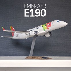 1.jpg Download STL file EMBRAER 190 - REGIONAL JET AIRPLANE - 1:100 • 3D printable object, CLERX