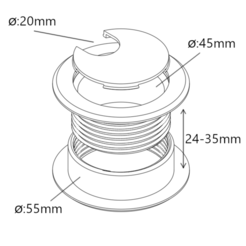 Download free STL file Cable Grommet (for 25-35mm thick)  • 3D printer template, victor_arnaiz