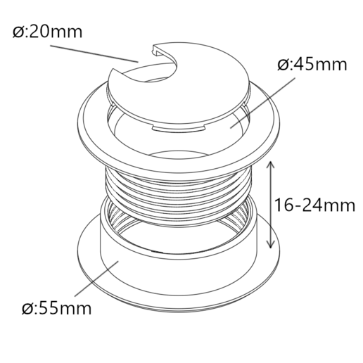 Download free STL file Cable Grommet (for 16-24mm thick)  • Design to 3D print, victor_arnaiz