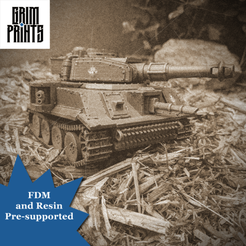 Old Timey.png Download STL file Grim Tiger Main Battle Tank • 3D print design, GrimPrints