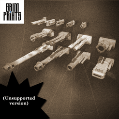 Old Timey unsupported.png Download free STL file Grim Battle Tank Weapon Kit • 3D printable model, GrimPrints