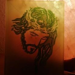 CRISTO1.jpg Download STL file Framed image of Christ • 3D printer object, frandean30