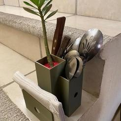 cc0322a7-b5ae-4126-b1ed-a478ae3e56fa.jpg Télécharger fichier STL Harmonie : centre de table pour les cuillères, les serviettes et une plante • Plan imprimable en 3D, Scarola