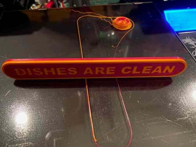 IMG_4672.jpeg Download free STL file Dirty / Clean dishes sign IDEX Printer • 3D printing object, bruceagordon