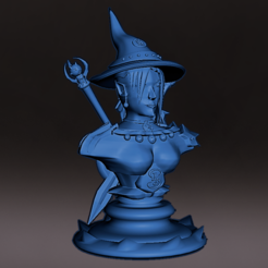 Download 3D printer designs Bust medieval witch with base, miniature, board game, dyd, warhammer, base, stage, role, chess, jjsarte3d