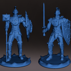 Caballeros_Dragon_M.PNG Download STL file Dragon Knights, with sword and shield mace, medieval fantasy miniatures, role playing and board game • 3D printable template, jjsarte3d