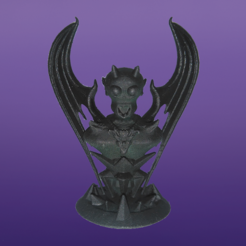 Demonio_F.PNG Download STL file Skull Demon Bust with base, miniature, board game, dyd, warhammer, base, stage, role, chess • Object to 3D print, jjsarte3d