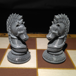 Caballos.PNG Download STL file Armored Chess Knight • 3D printable template, jjsarte3d