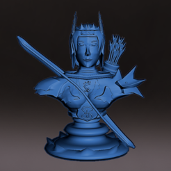 Arquera_Fm.PNG Download STL file Medieval Elf bust with base, miniature, board game, dyd, warhammer, base, stage, role, chess • 3D print object, jjsarte3d
