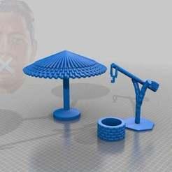 Télécharger plan imprimante 3D gatuit burgenland landschaft - profitez-en ! / brunnen mit schilfsonnenschirm, syzguru11