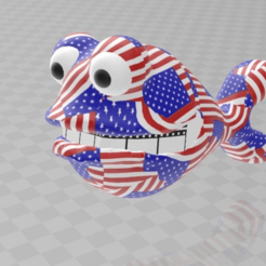 americandadfish.png Download free 3MF file american dad fish  stars and stripes colorprintable • 3D print design, syzguru11
