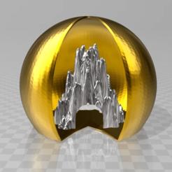Download free STL supermans icecave in golden sphere, syzguru11