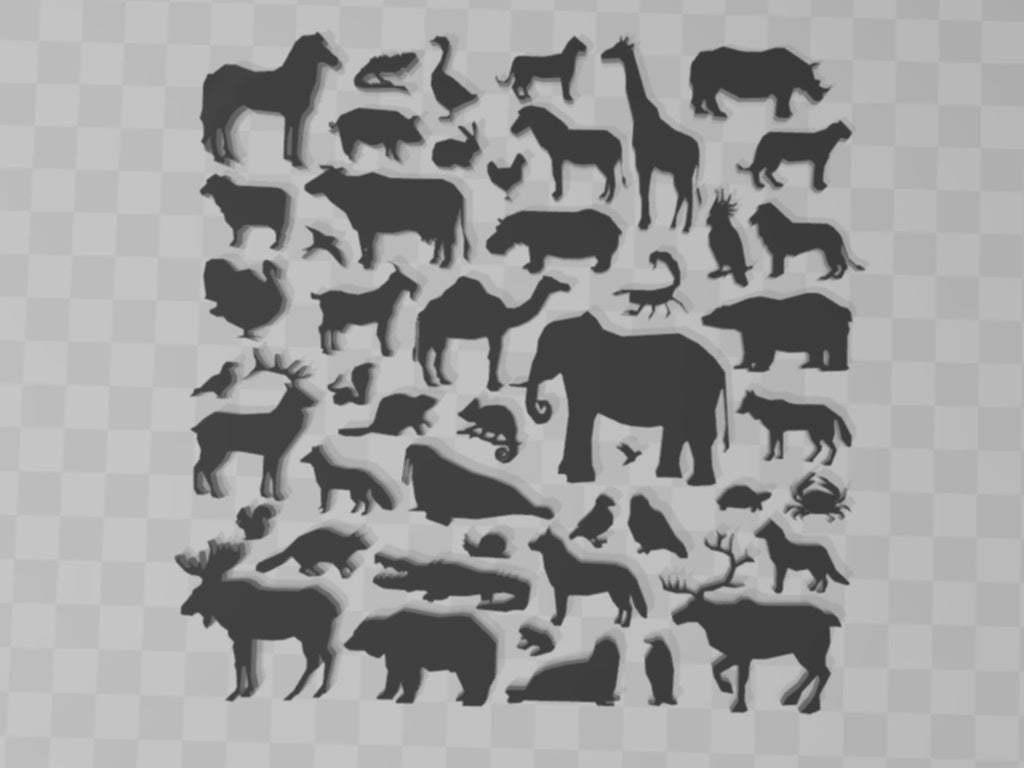 animalbigset.jpg Download free STL file animals-silhouette-big-set • 3D printable design, syzguru11