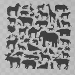 Télécharger fichier STL gratuit animals-silhouette-big-set, syzguru11