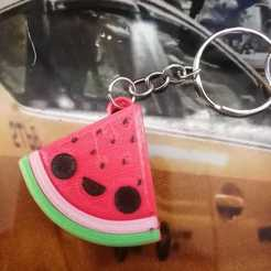 watermelon_keychain.jpeg Download STL file watermelon keychain • 3D printing model, alexfontesla