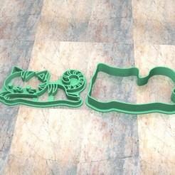 D_Gato f.jpg Télécharger fichier STL Timbre/tampon à biscuits. Cortante/Stamp cookie dough fondan.Gato f • Modèle imprimable en 3D, Centenario3D