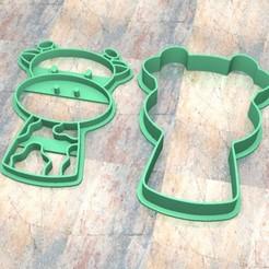 D_Jirafa a.jpg Télécharger fichier STL Timbre/tampon à biscuits. Cortante/Pâte à biscuits. Girafe a • Plan à imprimer en 3D, Centenario3D