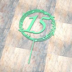 T_D_15_002.jpg Télécharger fichier STL TOPPER CAKE/CARTEL TORTA. 15_002 • Design à imprimer en 3D, Centenario3D